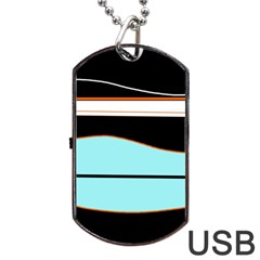 Cyan, black and white waves Dog Tag USB Flash (Two Sides)