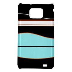 Cyan, black and white waves Samsung Galaxy S2 i9100 Hardshell Case