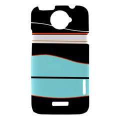 Cyan, black and white waves HTC One X Hardshell Case
