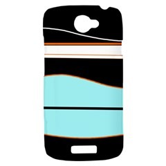 Cyan, black and white waves HTC One S Hardshell Case