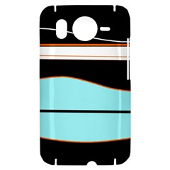Cyan, black and white waves HTC Desire HD Hardshell Case