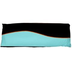 Cyan, black and white waves Body Pillow Case (Dakimakura)