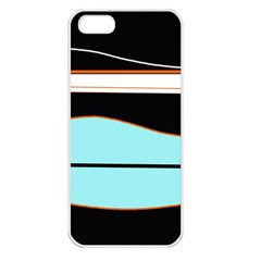 Cyan, black and white waves Apple iPhone 5 Seamless Case (White)
