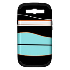 Cyan, black and white waves Samsung Galaxy S III Hardshell Case (PC+Silicone)