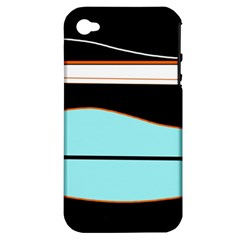 Cyan, black and white waves Apple iPhone 4/4S Hardshell Case (PC+Silicone)