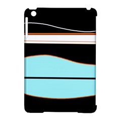 Cyan, black and white waves Apple iPad Mini Hardshell Case (Compatible with Smart Cover)