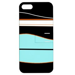 Cyan, black and white waves Apple iPhone 5 Hardshell Case with Stand