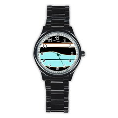 Cyan, black and white waves Stainless Steel Round Watch