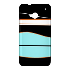 Cyan, black and white waves HTC One M7 Hardshell Case