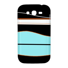 Cyan, black and white waves Samsung Galaxy Grand DUOS I9082 Hardshell Case