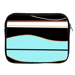 Cyan, black and white waves Apple iPad 2/3/4 Zipper Cases