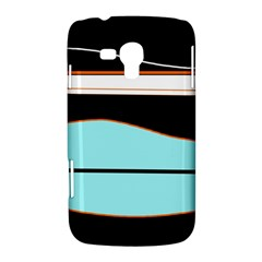 Cyan, black and white waves Samsung Galaxy Duos I8262 Hardshell Case