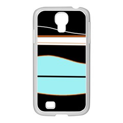Cyan, black and white waves Samsung GALAXY S4 I9500/ I9505 Case (White)
