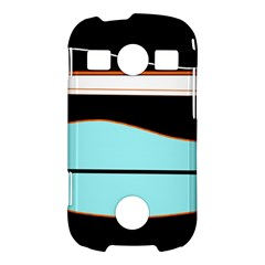 Cyan, black and white waves Samsung Galaxy S7710 Xcover 2 Hardshell Case