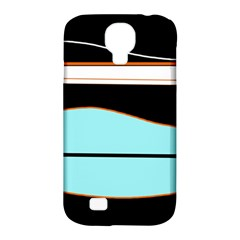 Cyan, black and white waves Samsung Galaxy S4 Classic Hardshell Case (PC+Silicone)