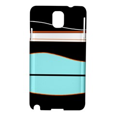 Cyan, black and white waves Samsung Galaxy Note 3 N9005 Hardshell Case