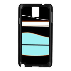 Cyan, black and white waves Samsung Galaxy Note 3 N9005 Case (Black)