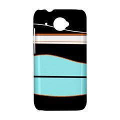 Cyan, black and white waves HTC Desire 601 Hardshell Case