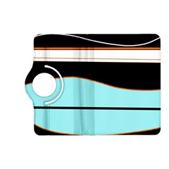 Cyan, black and white waves Kindle Fire HD (2013) Flip 360 Case