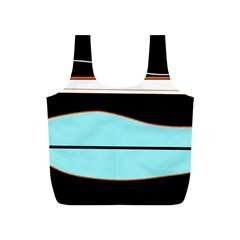 Cyan, black and white waves Full Print Recycle Bags (S)