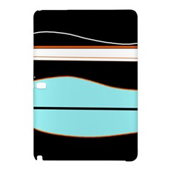 Cyan, black and white waves Samsung Galaxy Tab Pro 12.2 Hardshell Case
