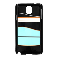 Cyan, black and white waves Samsung Galaxy Note 3 Neo Hardshell Case (Black)