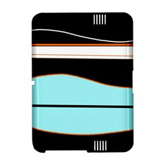 Cyan, black and white waves Amazon Kindle Fire (2012) Hardshell Case