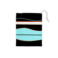 Cyan, Black And White Waves Drawstring Pouches (small)
