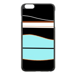 Cyan, black and white waves Apple iPhone 6 Plus/6S Plus Black Enamel Case