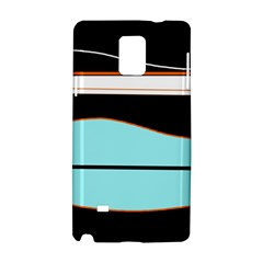 Cyan, black and white waves Samsung Galaxy Note 4 Hardshell Case