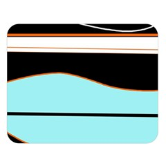 Cyan, black and white waves Double Sided Flano Blanket (Large)