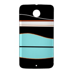 Cyan, black and white waves Nexus 6 Case (White)