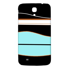 Cyan, black and white waves Samsung Galaxy Mega I9200 Hardshell Back Case