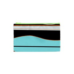 Cyan, black and white waves Cosmetic Bag (XS)