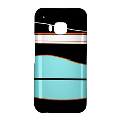 Cyan, black and white waves HTC One M9 Hardshell Case