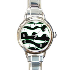 Green, white and black Round Italian Charm Watch