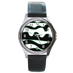 Green, white and black Round Metal Watch