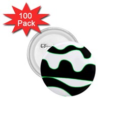 Green, white and black 1.75  Buttons (100 pack)