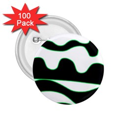 Green, white and black 2.25  Buttons (100 pack)