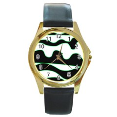 Green, white and black Round Gold Metal Watch
