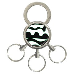 Green, white and black 3-Ring Key Chains