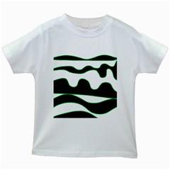 Green, white and black Kids White T-Shirts