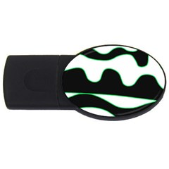Green, white and black USB Flash Drive Oval (2 GB)