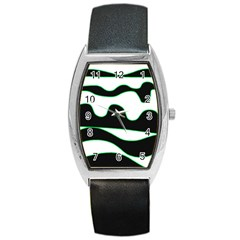 Green, white and black Barrel Style Metal Watch