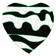 Green, white and black Jigsaw Puzzle (Heart)