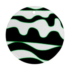 Green, white and black Round Ornament (Two Sides)