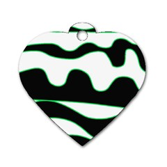 Green, white and black Dog Tag Heart (One Side)