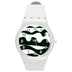 Green, white and black Round Plastic Sport Watch (M)