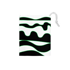 Green, white and black Drawstring Pouches (Small)