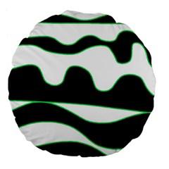 Green, white and black Large 18  Premium Flano Round Cushions